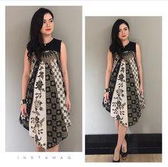 Simple Dresses, Pretty Dresses, Casual Dresses, Blouse Batik, Batik Dress, Arab Fashion, African Fashion, Emo Fashion, Dress Pesta