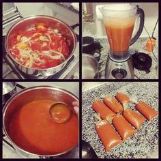 Molho de tomate caseiro. 1,5 kg de tomate com casca sem sementes. 2 cebolas cortadas em rodelas. 1 cenoura cortada em rodela. 1 colher sopa de sal do himalaia. 6 dentes de alho. 1 copo americano de água. Manjericão. Alho poró. Ferver até a cenoura ficar macia. Bater tudo no liquidificador. Eu distribui em saquinhos para congelar. #receitafit #receitasaudavel #tomate #manjericão #cenoura #cebola #vidasaudavel #desafiomagraem40dias #chatadegostosa #carolferrera #molhodetomate
