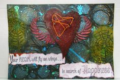 My Art Journal - Fly on Wings... Your heart will fly on wings...in search of Happiness. Happiness and the heart are linked together. The heart will find its way towards happiness. Don't give up. Used Fibre paste, Aero colors and Neon colors on black paper. Hope you like it..Do comment and like my page...Cheers
