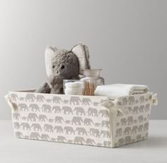 RH Baby & Child's Nursery Canvas Storage Caddy - Grey Elephant:Marching elephants and curious bunnies, twinkling stars and floating clouds – our favorite childhood themes transform durable cotton canvas into a sweet storage solution for the nursery.