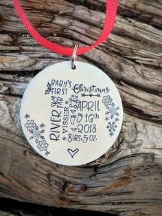 9455df222 Personalized hand stamped baby stats Christmas ornament. Baby's first  Christmas ornament. Gift for n