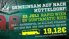 Zum ersten Saisonspiel gegen Rapid Wien (23. Juli um 16 Uhr) organisieren wir eine Busfanfahrt nach Hütteldorf. Gemeinsam mit vielen schwarz-grünen Fans möchten wir erfolgreich in die neue Saison starten. Auf uns warten die Stadioneröffnung im Allianz Stadion, eine tolle Stimmung bei vollem Haus und ein neues schlagkräftiges SVR-Team. Der Bus, Signs, Movies, Movie Posters, Waiting, Mood, Games, Clock, Films