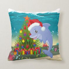 Festive Christmas dolphin seaweed tree Throw Pillow - tap/click to personalize and buy #ThrowPillow #festive, #christmas, #dolphin, #seaweed, #tree, Cheap Christmas Gifts, Christmas Photos, Christmas Themes, Designer Pillow, Designer Throw Pillows, Custom Pillows, Decorative Pillows, Christmas Animals, Christmas Design