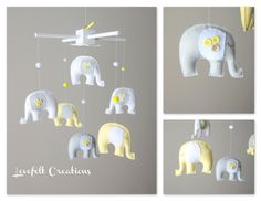 Baby  mobile - Custom Baby Mobile - Elephant Mobile - You can PICK ur COLORS and FABRIC :). $150.00, via Etsy.