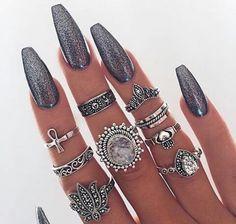 Black glitter coffin nails