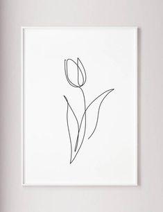 Flower Drawing Discover Tulip print Flower wall art Tulip one line art Abstract minimalist decor Line drawing Wabi sabi art Black and White wall art poster Tulip Drawing, Line Drawing, Drawing Flowers, Painting Flowers, Tattoo Flowers, Drawing Ideas, Drawing Drawing, Drawing Tips, Drawing Sketches