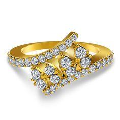 The Quad Clasp Ring in 18K Gold containing FG-VS Round Brilliant Diamonds...