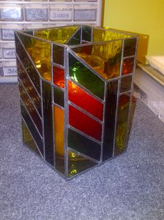 Another stained glass candle holder I made.