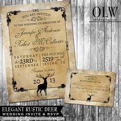 Rustic Wedding Invitation Suite - Deer, Wood, Fall, Hunter- Digital Invitation, RSVP card $35.00 Via ODD WEDDINGS www.oddlotweddings.com