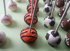 Athletic Cake Pops - Basketball, Soccer, Baseball and Football cake pops by Sugar Puddin Cafe Football Cake Pops, Sport Cakes, Basketball, Sugar, Athletic, Desserts, Sports, Tailgate Desserts, Hs Sports