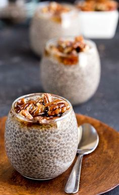 Have you tried chia seed pudding? Its delicious! Its creamy, and this Sticky Bun Chia Seed Pudding is topped with maple sticky pecans for a bit of extra sweetness and crunch.