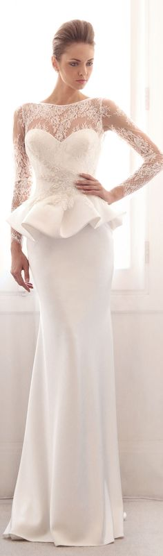 ♥Gorgeous peplum wedding dress ● Gemy Maalouf Bridal ● S/S 2014 Peplum Wedding Dress, Wedding Dresses 2014, Bridal Dresses, Lace Dress, Party Dresses, Peplum Dresses, Strapless Dress, White Dress, Beautiful Wedding Gowns