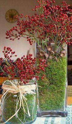 ♆ Blissful Bouquets ♆ gorgeous wedding bouquets, flower arrangements & floral centerpieces - berry bouquets for christmas Christmas Time, Christmas Crafts, Christmas Decorations, Christmas Centerpieces, Christmas Ornaments, Fall Crafts, Diy And Crafts, Deco Nature, Deco Floral