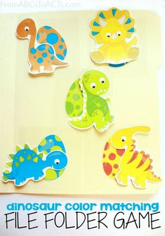 Practice colors and early math skills with your toddler or preschooler with this fun, printable dinosaur color matching file folder game!