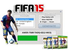 Use our KEYGEN for FIFA 15 and generate free key for activation game on all platforms PC, PS3/4, XBOX 360/ONE when you activate game with our key you can play MULTIPLAYER.