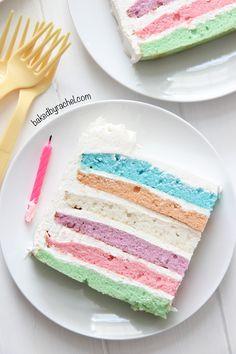 Square Pastel Layer Cake Recipe from @bakedbyrachel