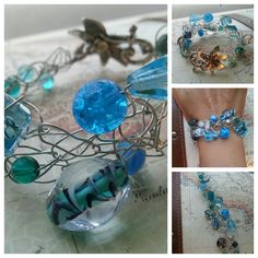 SALE. Colors of the Ocean. Wire Crocheted by SomethingSeaBlue