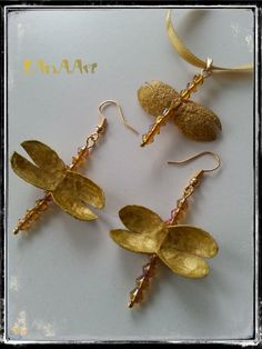 GOLDEN DRAGONFLIES earrings & pendant jewelry set of silk cocoons and yellow crystals, golden plated ear wire, one-of-a-kind by LanAArt on Etsy