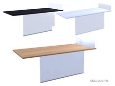 Diningtable with glass foot and glass separator for against the wall or against a Kitchen Island Found in TSR Category 'Sims 4 Dining Tables'