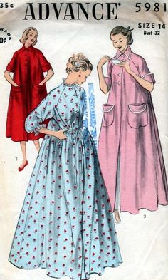 $35.00 for the pattern????    1950s Beautiful Housecoat Robe Peignoir Lingerie Pattern 3 Style Versions  Advance 5981 Vintage Sewing Pattern Bust 32