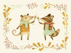 Cheers! From Pinknose the Opossum & Riley the Raccoon Art Print by Teagan White | Society6