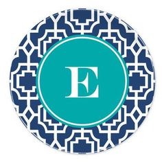 """Whitney English Designer Lattice 10"""" Single Initial Melamine Plate Letter: G"""