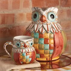 MacKenzie-Childs Owl Mug and Jug! #Owl #Mugs #MacKenzieChilds