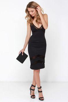 Untamed Dame Black Midi Dress at Lulus.com!