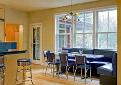 Breakfast nook - color of booth and style of table and chairs... I love the restaurant booth feeling.... kitchen nook with built in seating... Texas house, corner booth Cut away kitchen wall, make bar counter...