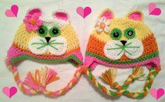 Kitty Kat Ear-Flap Hat ~ Newborn - 6 Months