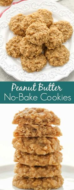 Peanut Butter No-Bake Cookies - Live Well Bake Often Peanut Butter No-Bake Cookies - Live Well Bake Often These Peanut Butter No-Bake Cookies are full of peanut butter flavor, only require a few simple ingredients, and are incredibly easy to make! No Bake Cookies Recipe Peanut Butter, Healthy No Bake Cookies, Peanut Butter Recipes, Easy Cookie Recipes, Easy Desserts, Easy No Bake Recipes, Dessert Recipes, Unbaked Cookies Recipe, Healthy Desserts Peanut Butter