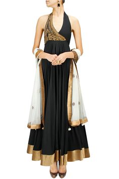 Black and off-white embroidered anarkali set BY JOY MITRA.