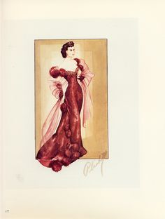 Walter Plunkett sketch of Scarlett O'Hara's burgundy ball gown from Gone With the Wind