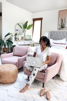 Master Bedroom Reveal by Gypsy Tan. With white, gray, blush bedroom boho chic designs and texture. Big cactus painting with blush pink chairs. Closet Bedroom, Bedroom Inspo, Home Bedroom, Master Bedroom, Bedroom Decor, Bedrooms, Home Interior, Interior Decorating, Interior Design