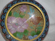 Vintage Cloisonne Cupped Bowl with Birds and Flowers