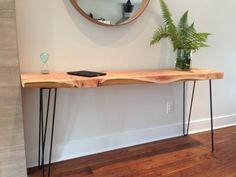 "Console Table - Solid Cedar - Desk- Plant Stand- Coffee Table- Live Edge -Mid Century -Metal Legs- 16"" W x 66"" L x 2.5"" T-BC Wood-Slab 59C"