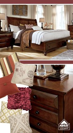 """Love the red tones! Findler Sleigh Bed - Ashley Furniture HomeStore Want to get updates on New Products like this and specials. Get the """"FREE"""" Home Design Network Smartphone/Tablet app. Go to  http://c8872bdb-e5e2-44c6-9f3b-7b8d09bd5add.mobapp.at/landing/Desktop#.VJCfenvZI9Q"""