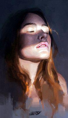 """Portrait study by Ibrahem Swaid, figurative art female head woman face portrait digital painting. Digital Painting Portrait, L'art Du Portrait, Portrait Paintings, Digital Paintings, Portrait Acrylic, Art Paintings, Digital Art, Figure Painting, Painting & Drawing"
