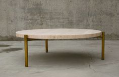 "Coffee Table – Travertine and brass plate 3 legs / 38 ½"" diameter x 13"" t"