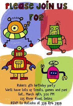 Robots Party Free Printable Birthday Invitation Party Ideas