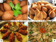 Four different types of Armenian Kufta:- 1. Fried Kufta: Burgul stuffed with minced meat and onions, fried. 2. Lenten Kufta, or Baki Kufta: Burgul stuffed with chickpea puree with onions and parsley. (during fasting) 3. ChiKufta: Burgul with raw meat. 4. Lentil Kufta: Puree made from Lentil.
