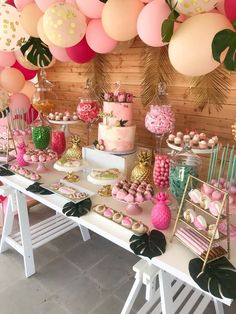 Loving this Flamingos & Pineapples Baby Shower! The dessert table is stunning!- Loving this Flamingos & Pineapples Baby Shower! The dessert table is stunning! S… Loving this Flamingos & Pineapples Baby Shower! Flamingo Party, Flamingo Baby Shower, Flamingo Birthday, Baby Shower Flowers, Deco Baby Shower, Baby Girl Shower Themes, Shower Party, Baby Shower Parties, Baby Shower Table