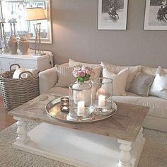 Cozy Grey Living Room Inspiration – LOVE all these gray and white living rooms and dark gray living room ideas! I really like a neutral living room with pops of … Coastal Living Rooms, Cozy Living, Home Living Room, Living Room Designs, Apartment Living, Romantic Living Room, Cozy Apartment, Shabby Chic Living Room Decor, Taupe Living Room