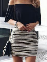 Black off shoulder top + Aztec print skirt – Summer Fashion Fashion Mode, Fashion 2017, Look Fashion, Fashion Outfits, Womens Fashion, 90s Fashion, Fashion Styles, Dress Fashion, Fitness Fashion