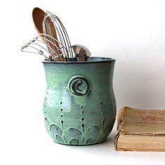 Monogram Kitchen Utensil Holder – Verdigris Sea –  Aqua Mist French Country Home Decor – Made to Order