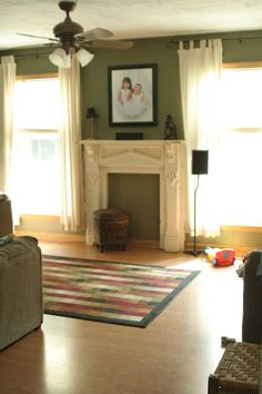 green and neutral living room - Google Search