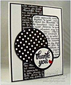 Black and White Handmade Thank You Cards - blog.Stamp4Joy.com