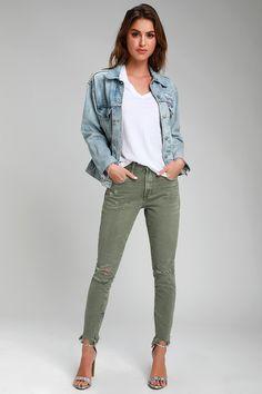 d4b9e12b720e Lulus   Freebirds Olive Green High-Waist Distressed Skinny Jeans   Size 24    100% Cotton