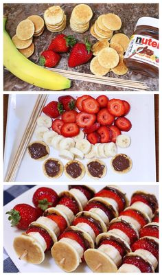 Mini Pancake Kebabs with Nutella 19 Glorious Ways To Eat Nutella For Breakfast Mini Pancake Kebabs with Nutella (just do mini pancake, banana slice, strawberry slice, on a toothpick? Mini Pancake Kebabs met Nutella - Food & Drink The Most Delicious Desser Breakfast Recipes, Snack Recipes, Dessert Recipes, Cooking Recipes, Nutella Recipes, Breakfast Buffet, Food Recipes For Kids, Breakfast Ideas For Kids, Easy Recipes