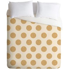 Allyson Johnson Gold Dots Duvet Cover Set ❤ liked on Polyvore featuring home, bed & bath, bedding, duvet covers, polka dot bedding, gold polka dot bedding, gold duvet sets, dot bedding and gold dot bedding